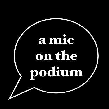 a mic on the podium